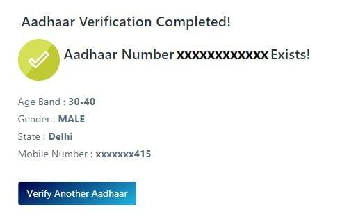Verified details of Aadhaar Card on the screen.